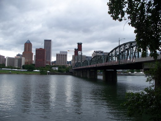 The Hawthorne Bridge over the Willamette River