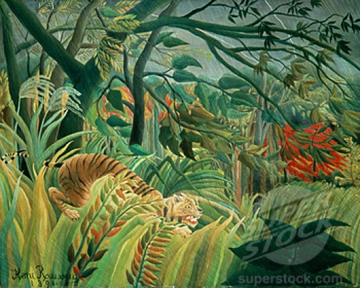 Tropical Storm with Tiger Surprise, by Henri Rousseau. Superstock.com