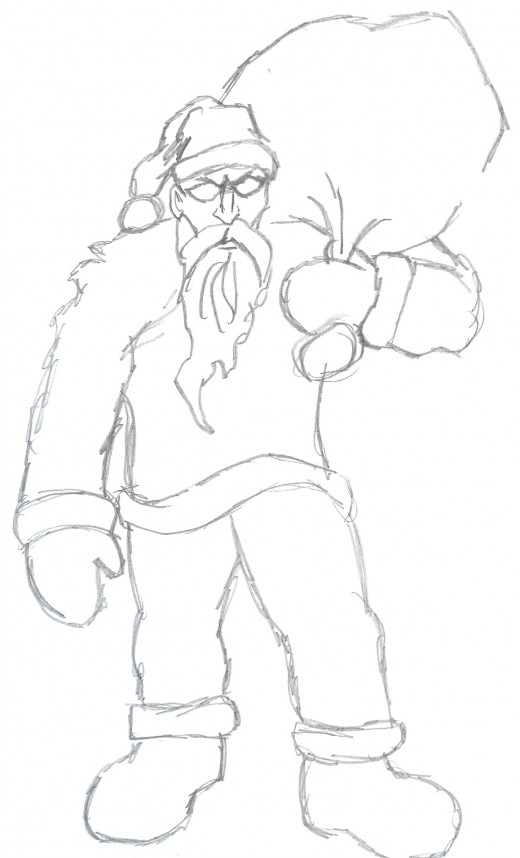 Draw a zombie santa clause sketch 2 - Making a figure better than before.