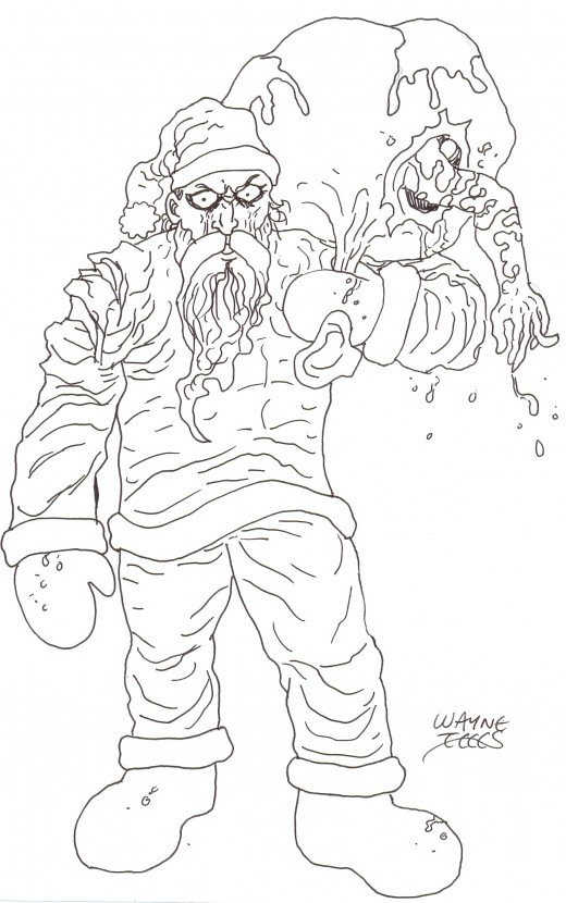 Drawing a zombie Santa Clause ink drawing 3 - A refined drawing came together quite quick.