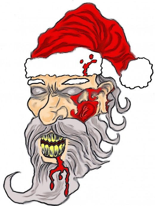 How to draw a zombie Santa face.  Zombie Santa art by Wayne Tully.