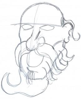 Draw a zombie Santa face sketch 2 - Making sense of a zombie face.