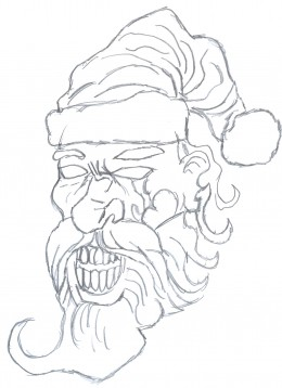 Drawing zombie Santa Face Sketch 3 - Zombie Face drawing  development.