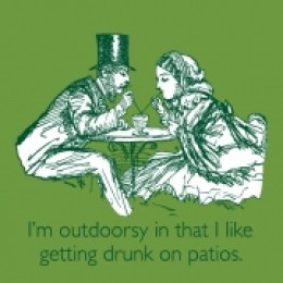 outdoorsy couple drunk on patios top hat drinks colonial
