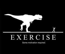 t. rex exercise some motivation required black white dinosaur