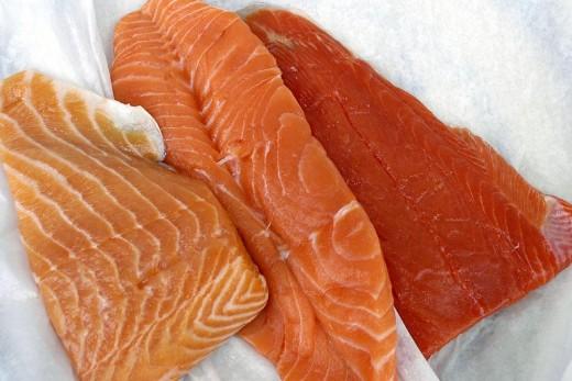 Raw uncut Salmon Steak