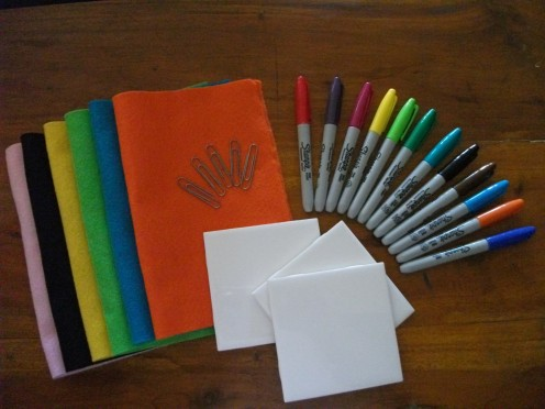 Felt,Ceramic Tile,Paper Clips,& Permanent Markers