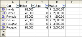 Filtered results in Excel 2003