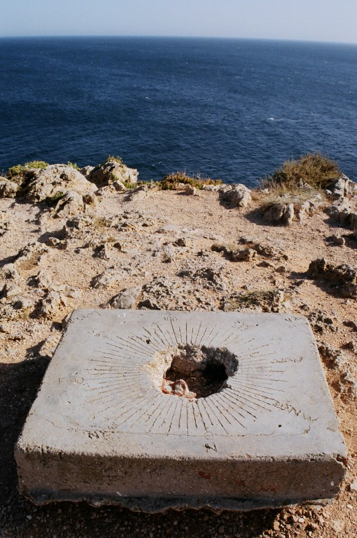 stone compass on the edge of the Sagres point