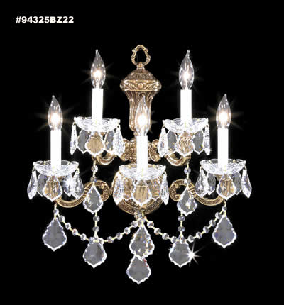 Elaborate 5 Light Crystal Wall Sconce