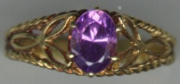 18 K Gold filigree and amethyst ring