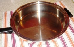 For a Roux, you need a stainless steel deep skillet or large pot, measuring cup and flat wooden spatula.