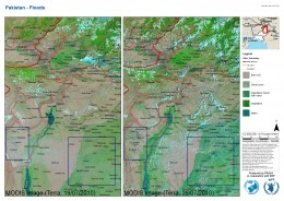 This before and after map shows the regions that are under flooding in Pakistan.
