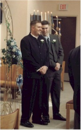 The best man keeps the groom feeling relaxed at the altar.