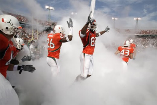 2010 Miami Hurricanes (at Ohio State, at Pittsburgh, at Clemson, vs Florida State, vs North Carolina and vs Virginia Tech