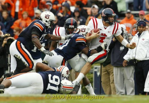 2010 Auburn Tigers biggest games (vs Arkansas, vs LSU, at Ole Miss, vs Georgia and at Alabama)
