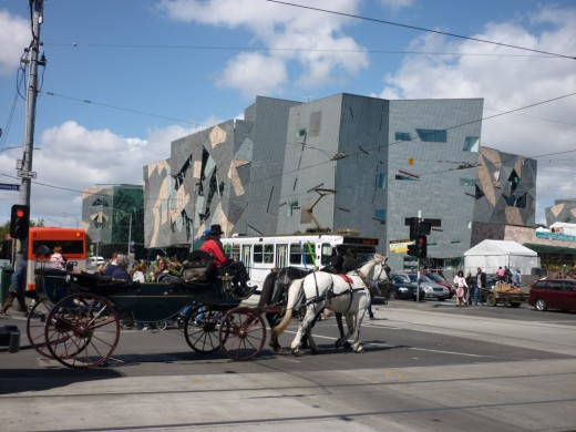 Victoria passing in front of Federation Square