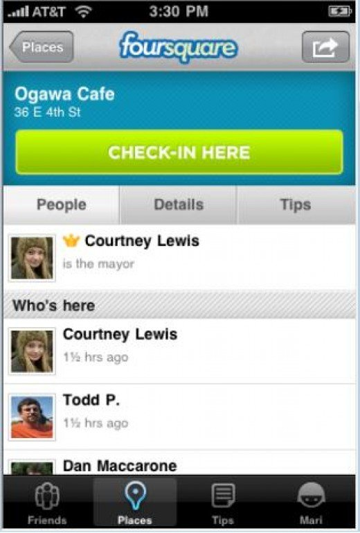 Typical screenshot of a Foursquare check-in
