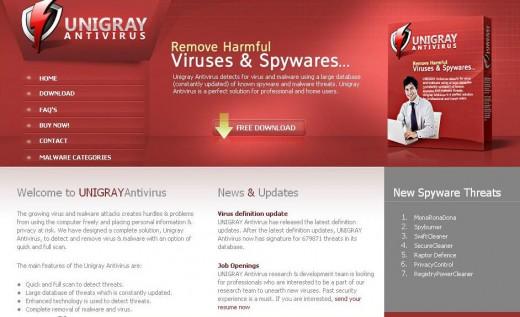Unigray Antivirus Sales Page