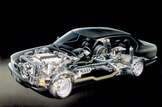 Showing engine and drive train layout of the BMW 7 series.