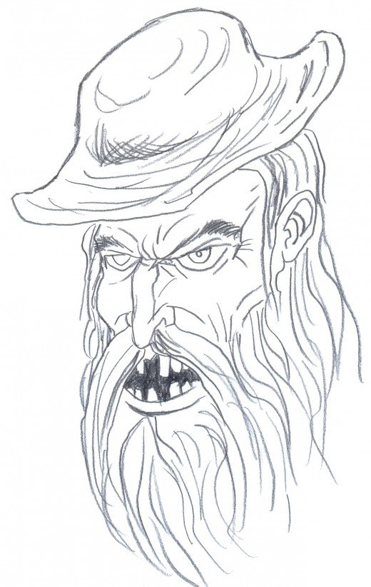 Draw a mad hill billy.  Defining more details and cleaning up some pencil lines.