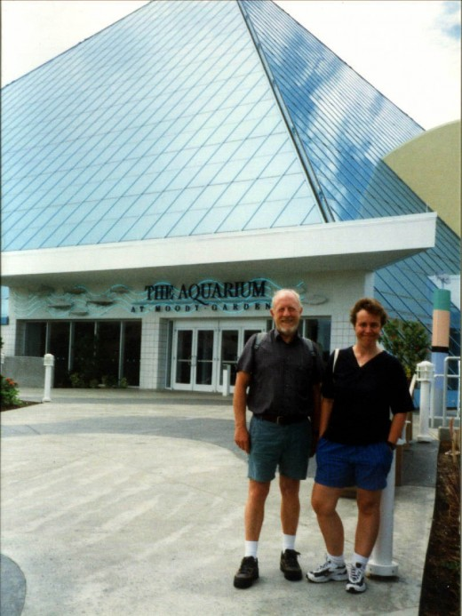 This is my hubby and our friend Sue standing outside of the Pyramid that housed the Aquarium.