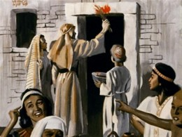 Applying the Blood of the Passover Lamb on the Lintel, from penny-tuppence.blogspot.com