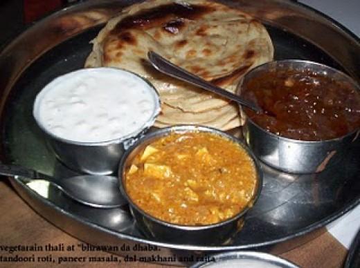Punjabi thali at Bhrawan da Dhaba Amritsar