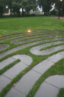 A piece of the actual BC student memorial labyrinth at dusk