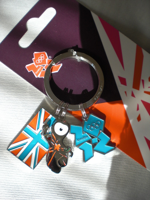 One of the keyrings with the Union Jack, Wenlock the mascot and the official symbol for the 2012 games.