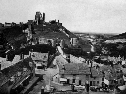 ....sliding down the steep outer bailey of Corfe Castle on a tea tray.