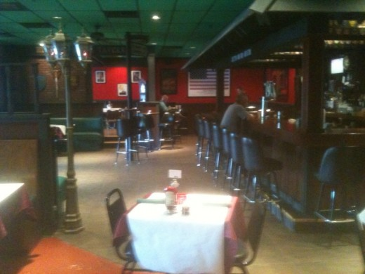 Enter the tavern, and this is to the right, looking toward the open seating area.  hiberniairishtavernlittlerock