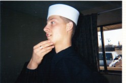 This is him as an adult, graduating from naval boot camp.
