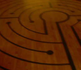 Piece of a labyrinth designed by Boticelli, located in the basement of St. Paul's Episcopal Cathedral on Tremont St., Boston
