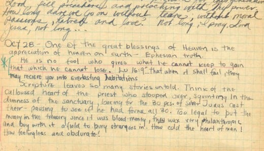 A page from Jim Elliot's journal - October 28, 1949