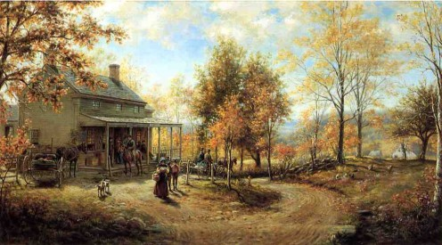 """An October Day"", a nostalgic genre painting by Victorian American artist Edward Lamson Henry (1841-1919)."