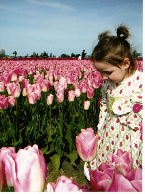 My darling granddaughter in Tulip Fields LaConner Washington