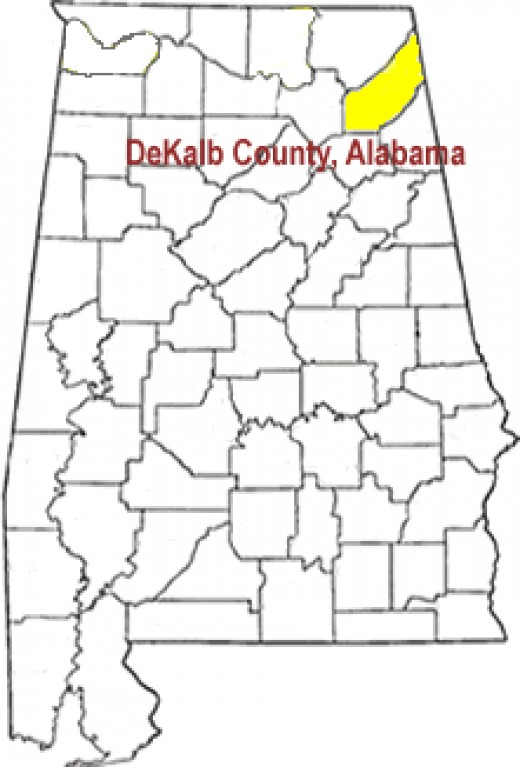 DeKalb County Alabama located on Sand Mountain in Northeast Alabama