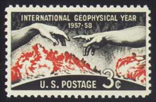 A US stamp honoring the IGY.  Image courtesy NASA.