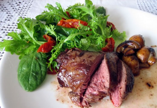 Kangaroo Steak served up with Salad