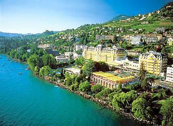 The Belle-Epoque building over looking beautiful Lake Geneva.