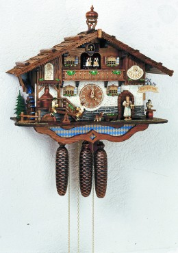 Schneider all wooden antique cuckoo clock, made in the Black Forest
