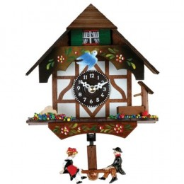 River City Clocks Quartz Novelty Cuckoo Clock - German Chalet with Bird & Well