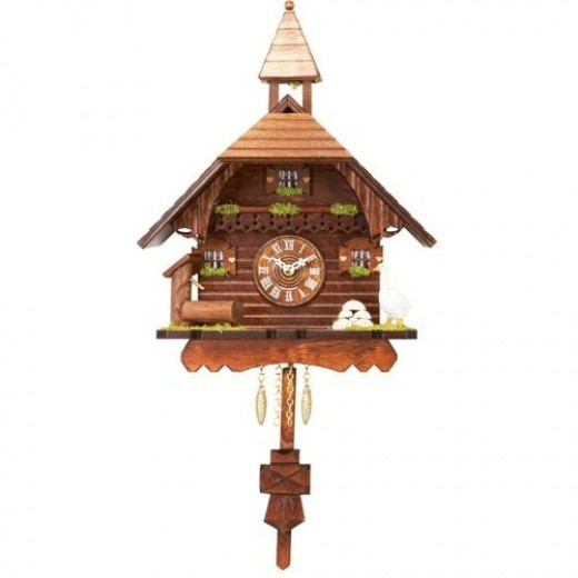 River City Clocks Quartz Cuckoo Clock - Chalet with Goose, Pump, & Ringing Bell - Westminster Chime or Cuckoo Sound -