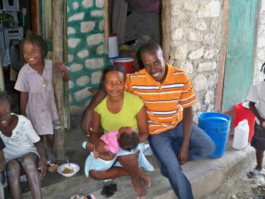 The school teacher and his family--a wife and healthy baby.  They are far more blest than many.