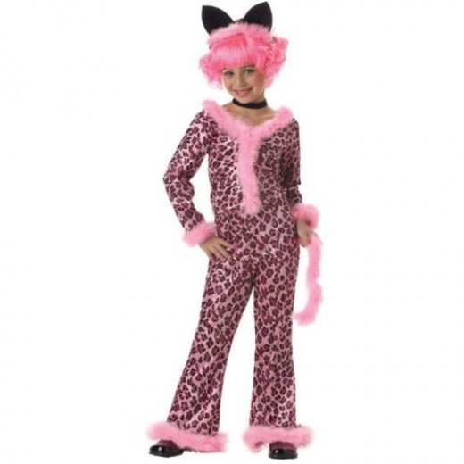 Kid's Pink Sassy Cat Costume (Size:Small 6-8)