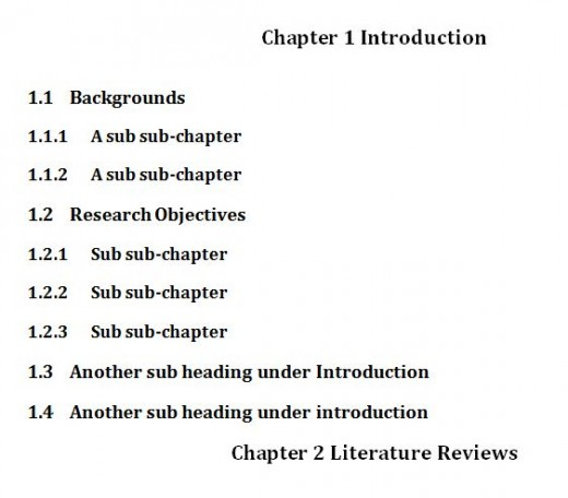 Thesis chapter headings
