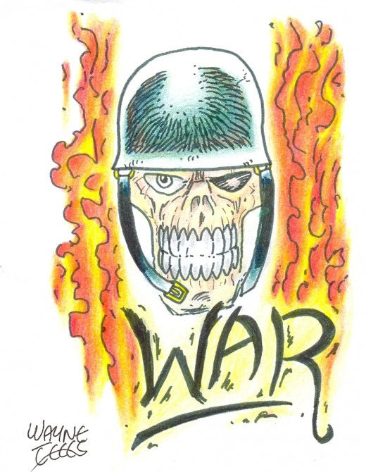 Draw a war skull tattoo.    War skull Copyright Wayne Tully 2010.