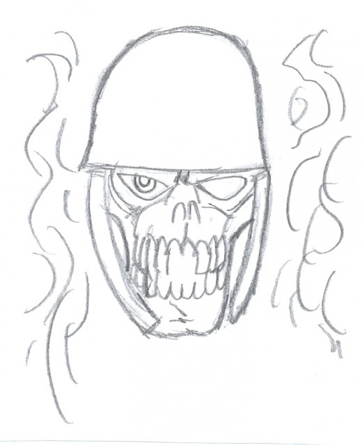 Draw a war skull tattoo.