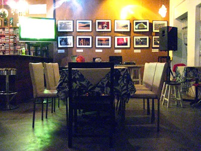 Cool interior decoration, cheap local designer food